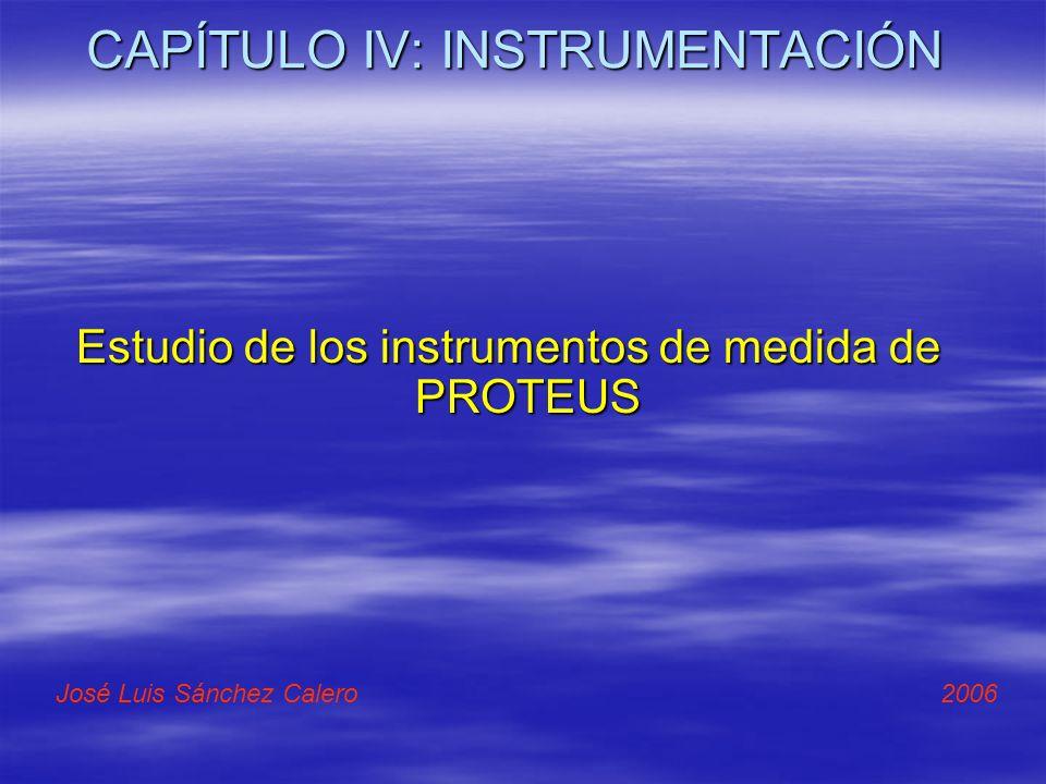 CAPÍTULO IV: INSTRUMENTACIÓN Estudio de los instrumentos de medida de PROTEUS José Luis Sánchez Calero 2006