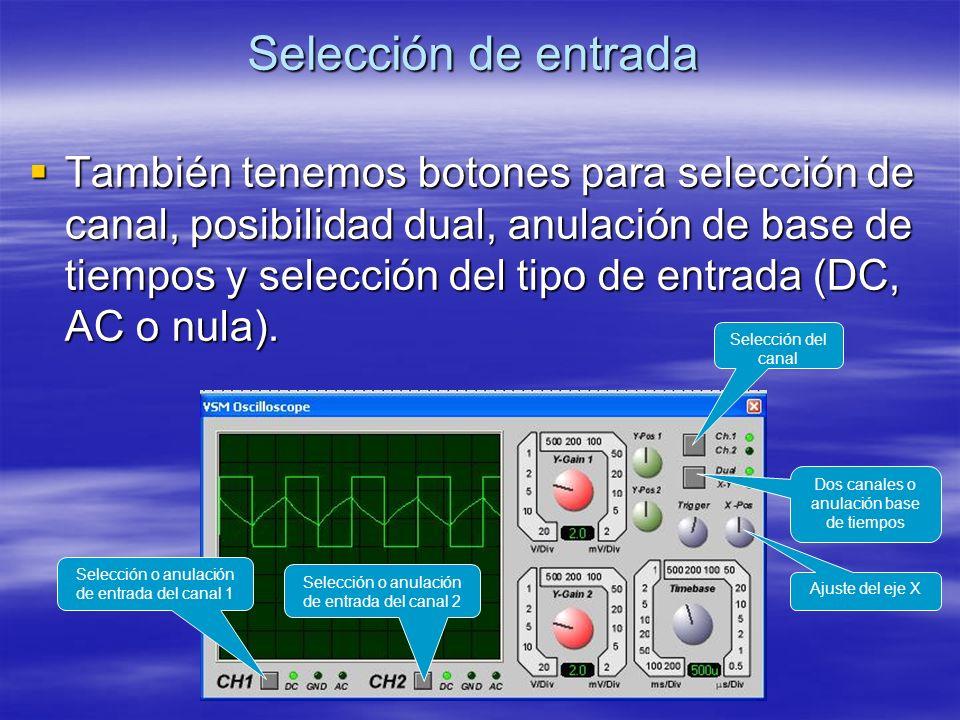 Selección de entrada También tenemos botones para selección de canal, posibilidad dual, anulación de base de tiempos y selección del tipo de entrada (
