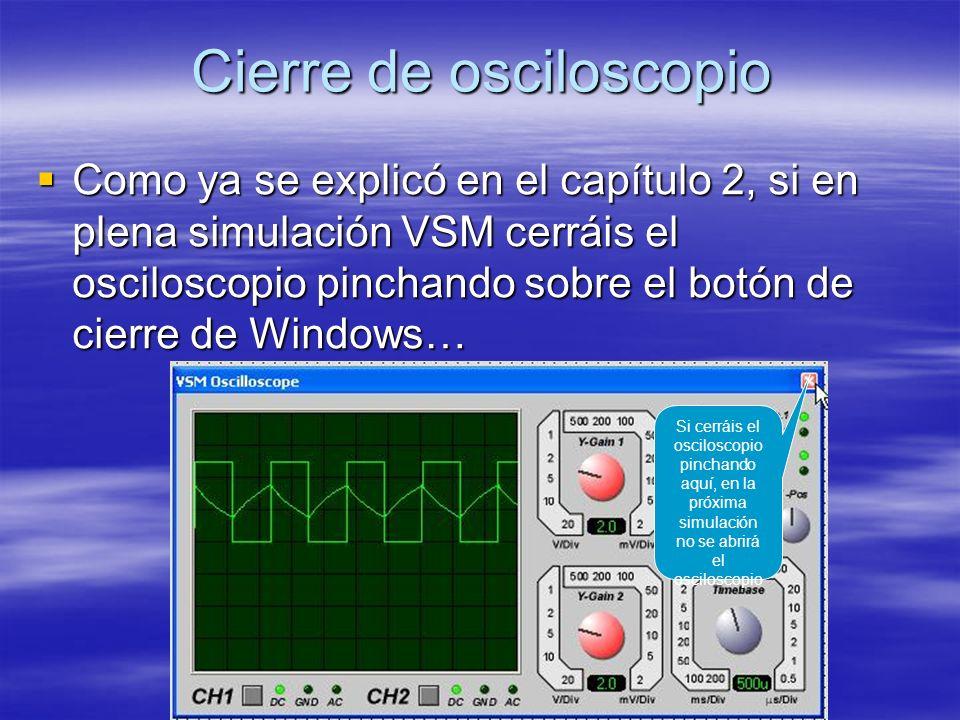 Cierre de osciloscopio Como ya se explicó en el capítulo 2, si en plena simulación VSM cerráis el osciloscopio pinchando sobre el botón de cierre de W