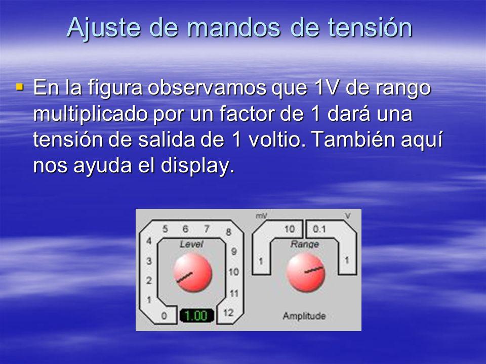 Ajuste de mandos de tensión En la figura observamos que 1V de rango multiplicado por un factor de 1 dará una tensión de salida de 1 voltio. También aq
