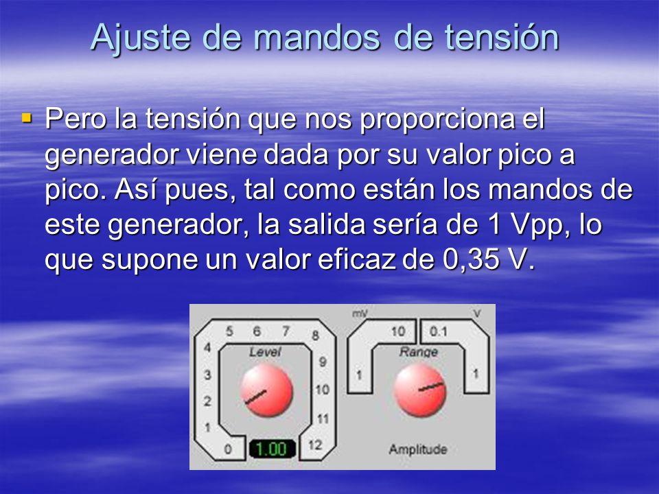 Ajuste de mandos de tensión Pero la tensión que nos proporciona el generador viene dada por su valor pico a pico. Así pues, tal como están los mandos