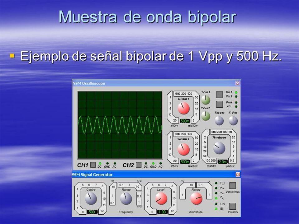Muestra de onda bipolar Ejemplo de señal bipolar de 1 Vpp y 500 Hz. Ejemplo de señal bipolar de 1 Vpp y 500 Hz.