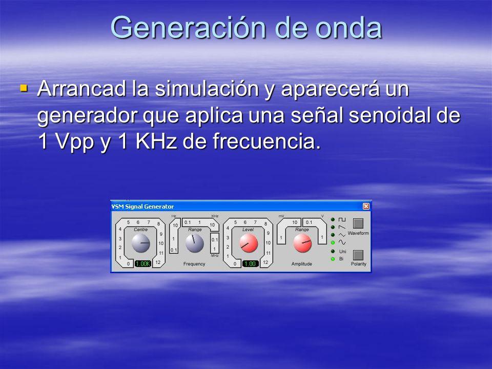 Generación de onda Arrancad la simulación y aparecerá un generador que aplica una señal senoidal de 1 Vpp y 1 KHz de frecuencia. Arrancad la simulació