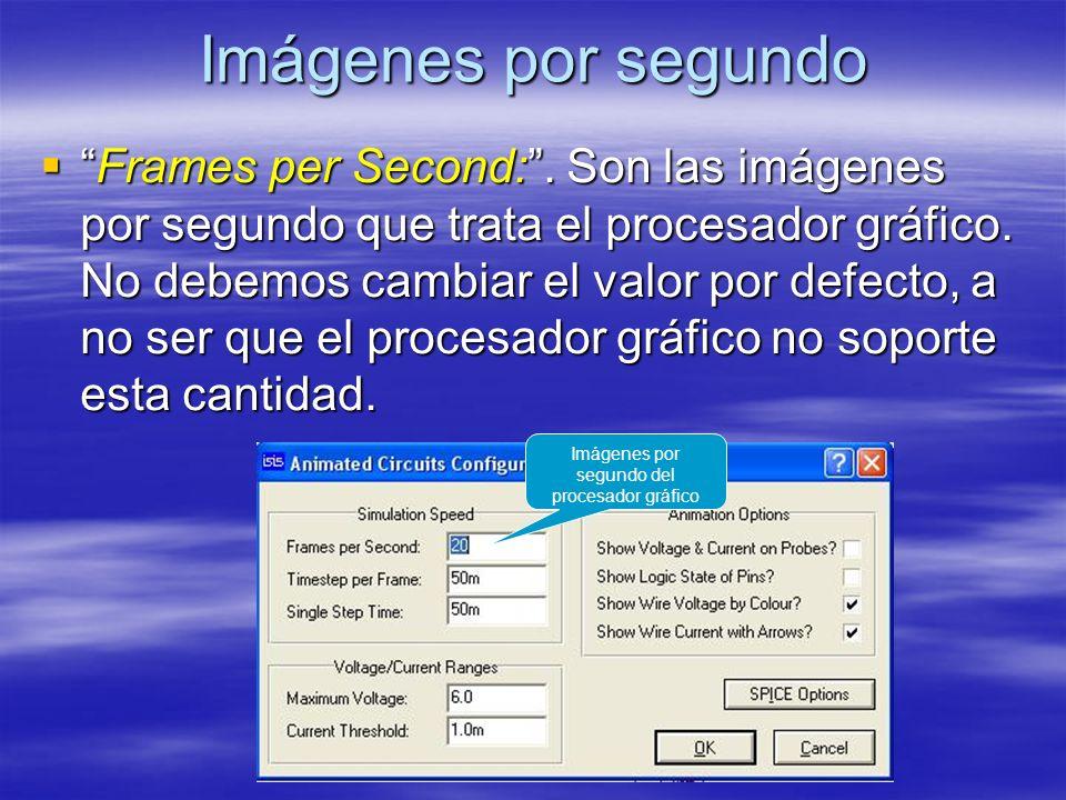 Imágenes por segundo Frames per Second:. Son las imágenes por segundo que trata el procesador gráfico. No debemos cambiar el valor por defecto, a no s