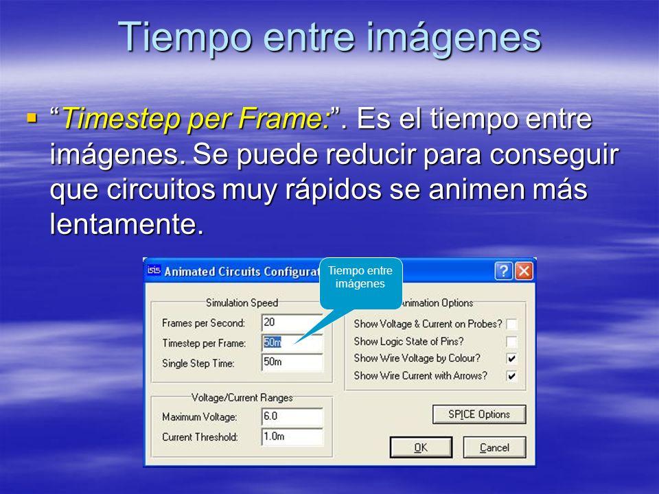 Tiempo entre imágenes Timestep per Frame:. Es el tiempo entre imágenes. Se puede reducir para conseguir que circuitos muy rápidos se animen más lentam