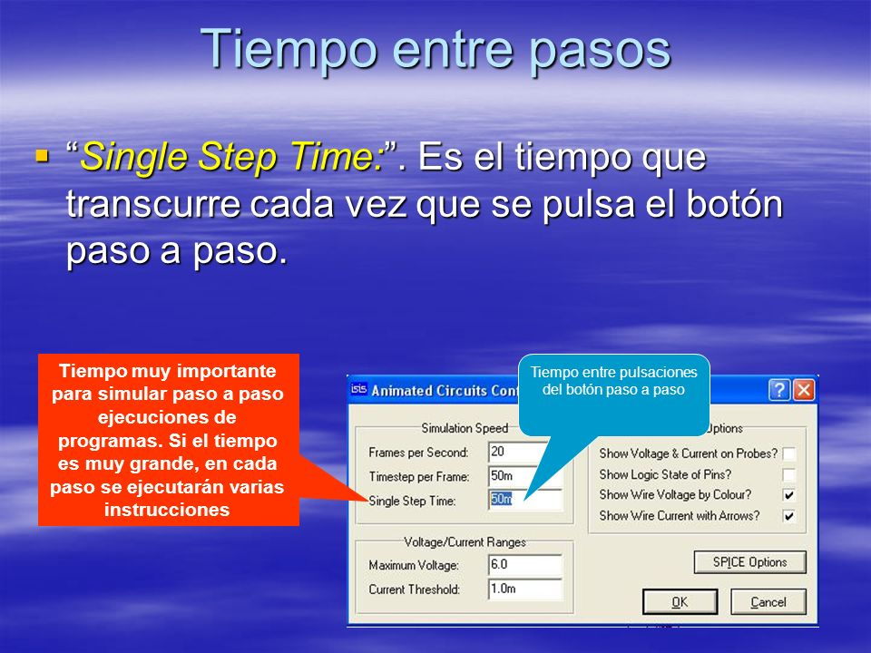 Tiempo entre pasos Single Step Time:. Es el tiempo que transcurre cada vez que se pulsa el botón paso a paso.Single Step Time:. Es el tiempo que trans