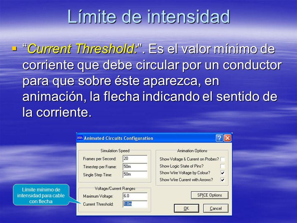 Límite de intensidad Current Threshold:. Es el valor mínimo de corriente que debe circular por un conductor para que sobre éste aparezca, en animación