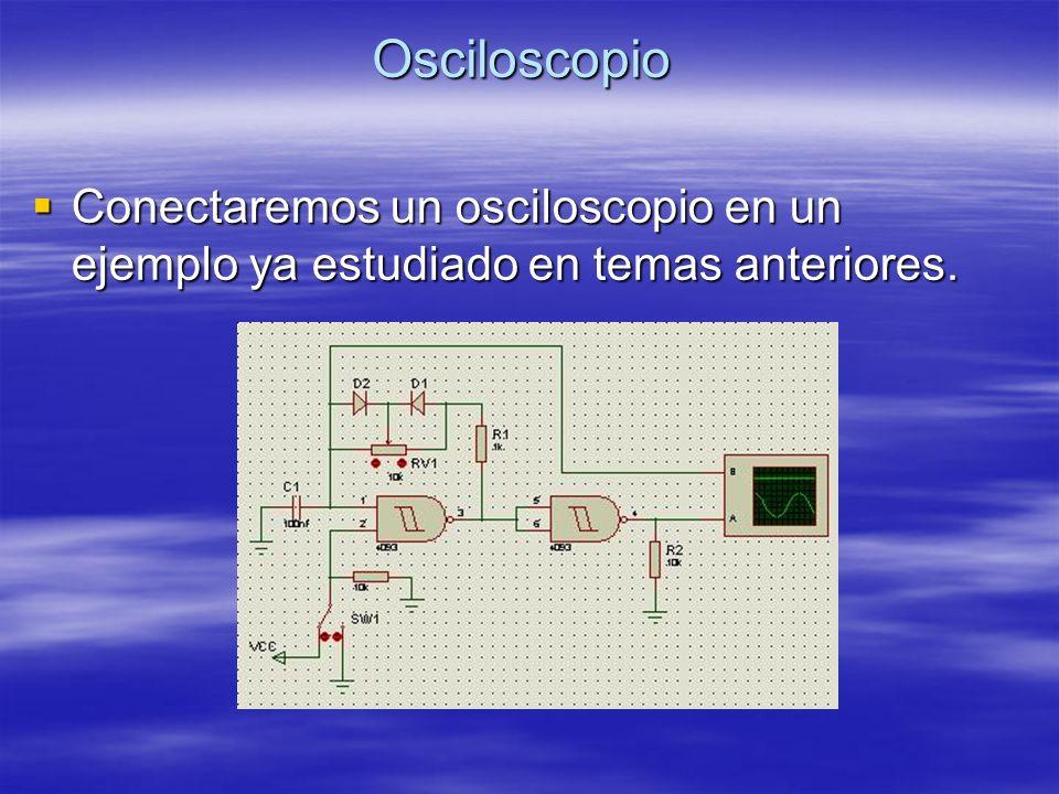 Osciloscopio Conectaremos un osciloscopio en un ejemplo ya estudiado en temas anteriores. Conectaremos un osciloscopio en un ejemplo ya estudiado en t