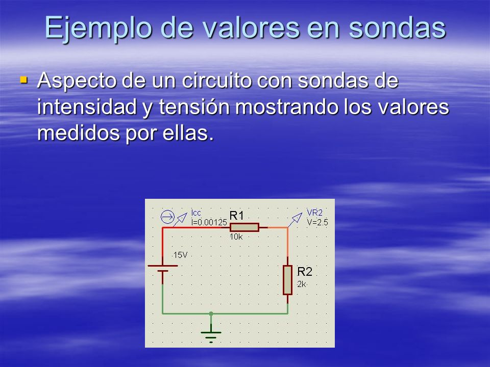 Ejemplo de valores en sondas Aspecto de un circuito con sondas de intensidad y tensión mostrando los valores medidos por ellas. Aspecto de un circuito