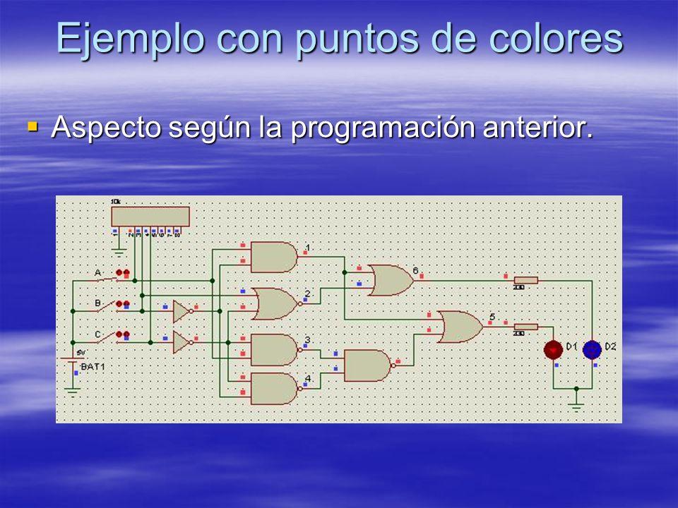 Ejemplo con puntos de colores Aspecto según la programación anterior. Aspecto según la programación anterior.