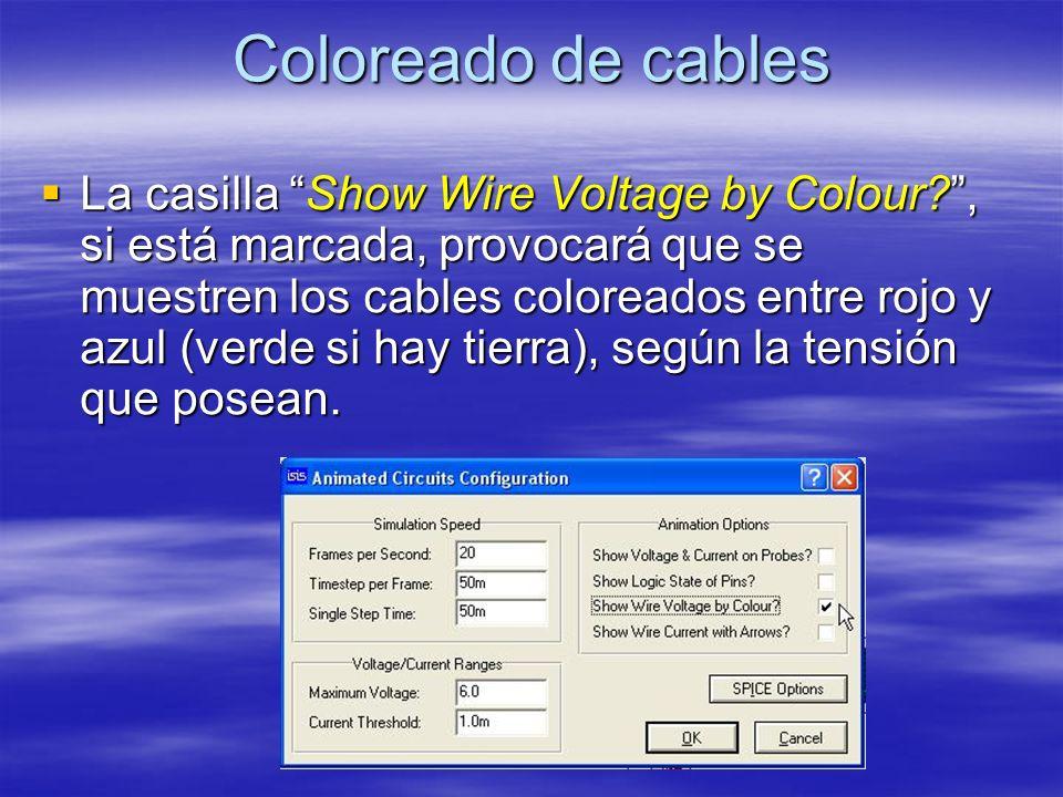 Coloreado de cables La casilla Show Wire Voltage by Colour?, si está marcada, provocará que se muestren los cables coloreados entre rojo y azul (verde