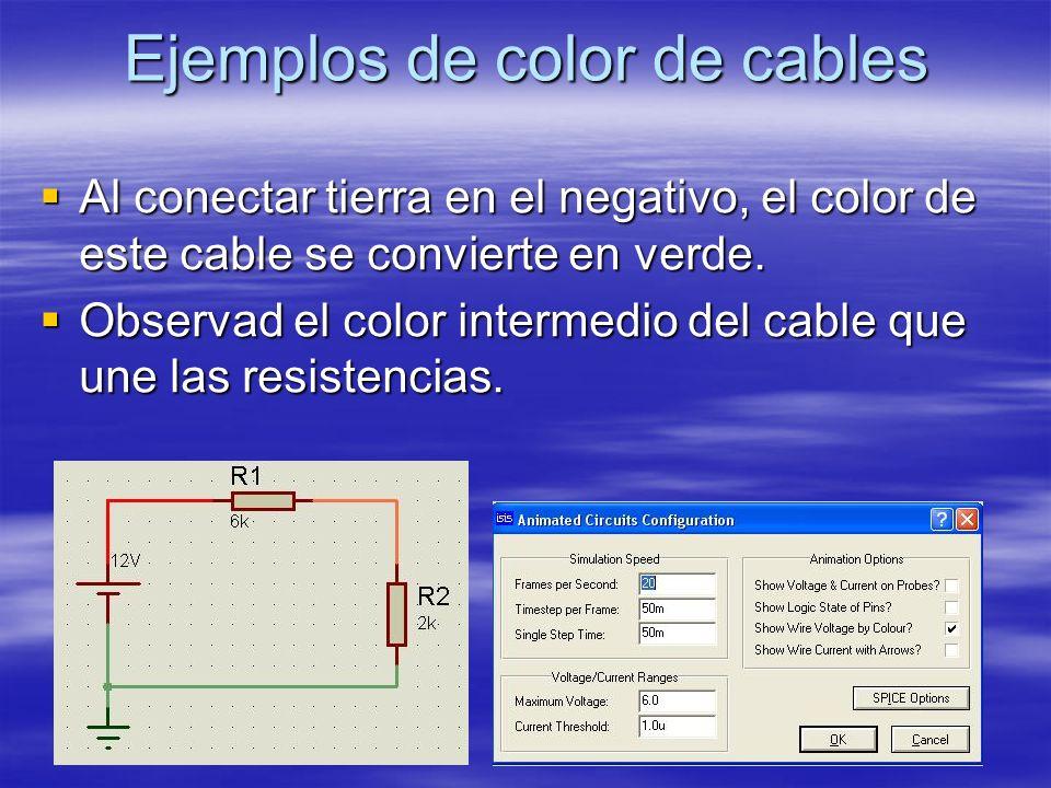 Ejemplos de color de cables Al conectar tierra en el negativo, el color de este cable se convierte en verde. Al conectar tierra en el negativo, el col