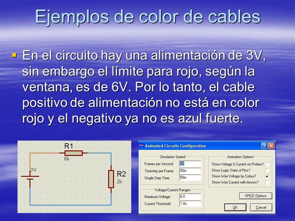 Ejemplos de color de cables En el circuito hay una alimentación de 3V, sin embargo el límite para rojo, según la ventana, es de 6V. Por lo tanto, el c