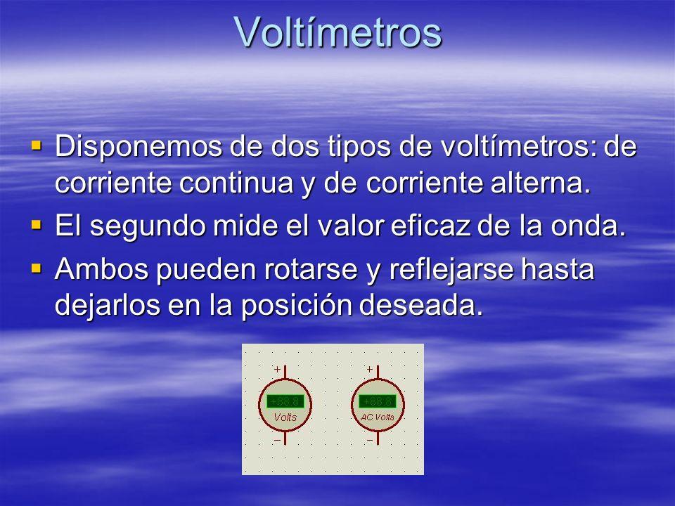 Voltímetros Disponemos de dos tipos de voltímetros: de corriente continua y de corriente alterna. Disponemos de dos tipos de voltímetros: de corriente