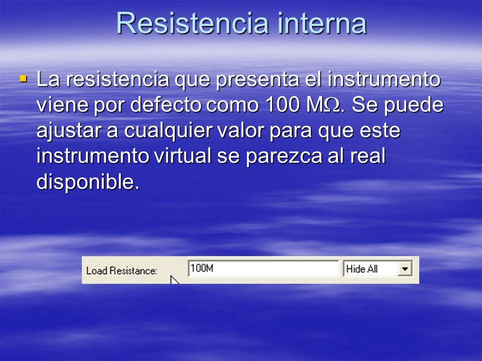 Resistencia interna La resistencia que presenta el instrumento viene por defecto como 100 M. Se puede ajustar a cualquier valor para que este instrume