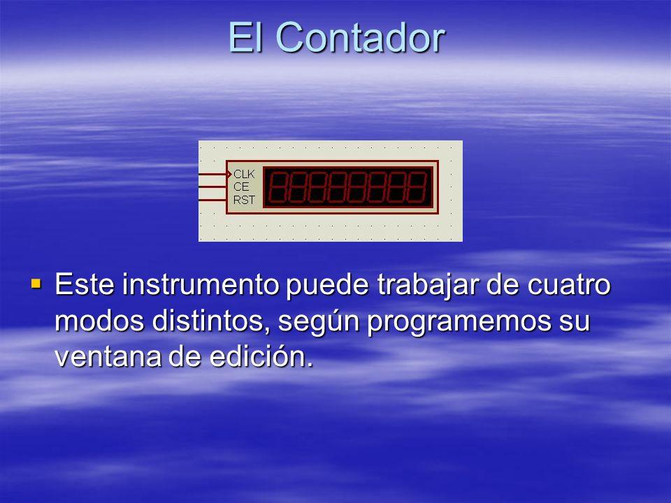 El Contador Este instrumento puede trabajar de cuatro modos distintos, según programemos su ventana de edición. Este instrumento puede trabajar de cua