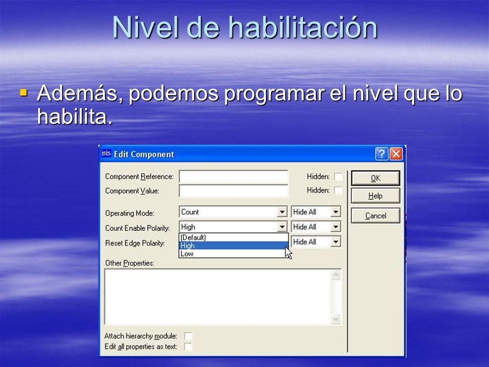 Nivel de habilitación Además, podemos programar el nivel que lo habilita. Además, podemos programar el nivel que lo habilita.