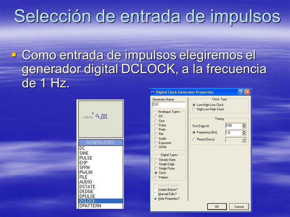 Selección de entrada de impulsos Como entrada de impulsos elegiremos el generador digital DCLOCK, a la frecuencia de 1 Hz. Como entrada de impulsos el