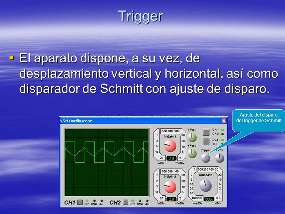 Trigger El aparato dispone, a su vez, de desplazamiento vertical y horizontal, así como disparador de Schmitt con ajuste de disparo. El aparato dispon