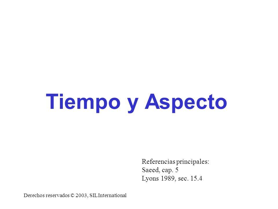 Tipología un inicio En algunas lenguas, no hay indicadores flexionales de tiempo g Cuando los hay, muchas veces hay una interacción compleja con aspecto y modo