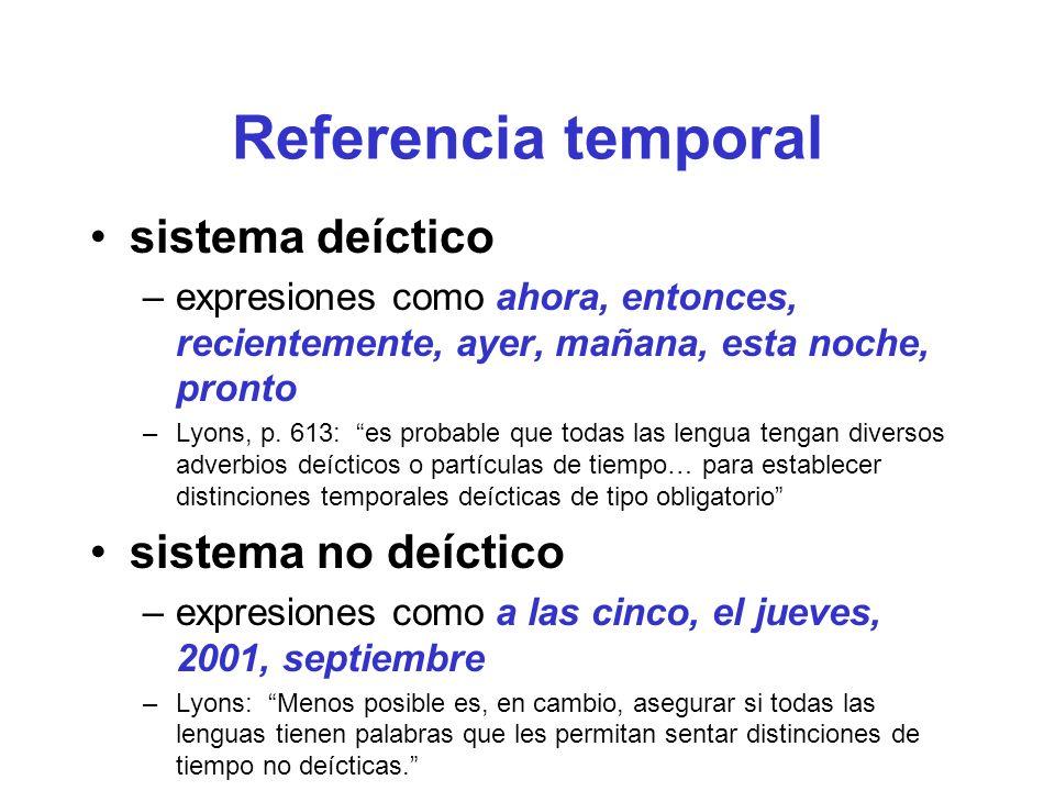 Referencia temporal sistema deíctico –expresiones como ahora, entonces, recientemente, ayer, mañana, esta noche, pronto –Lyons, p.