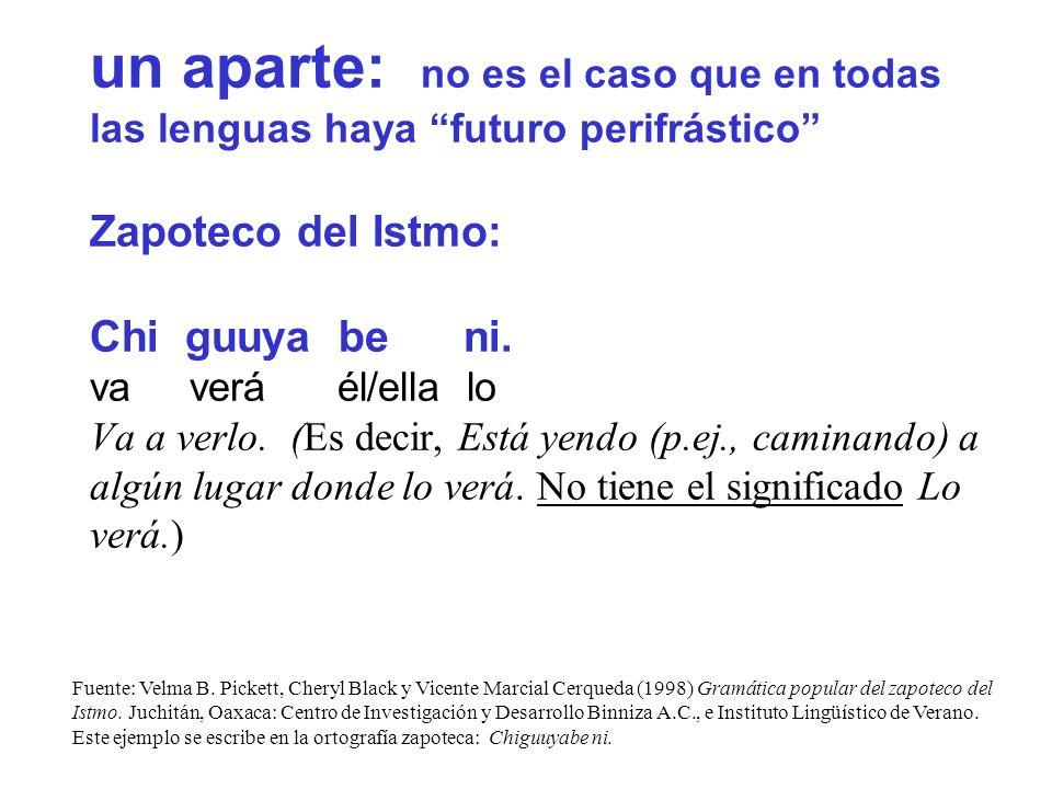 un aparte: no es el caso que en todas las lenguas haya futuro perifrástico Zapoteco del Istmo: Chi guuya be ni.
