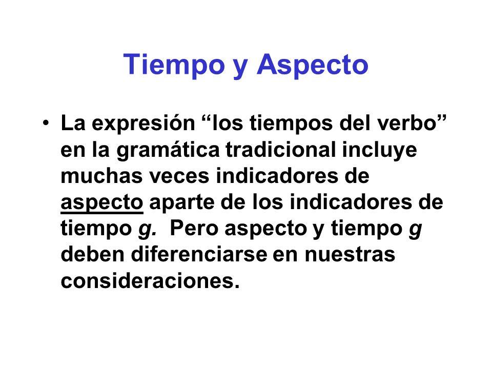 Tiempo y Aspecto La expresión los tiempos del verbo en la gramática tradicional incluye muchas veces indicadores de aspecto aparte de los indicadores de tiempo g.