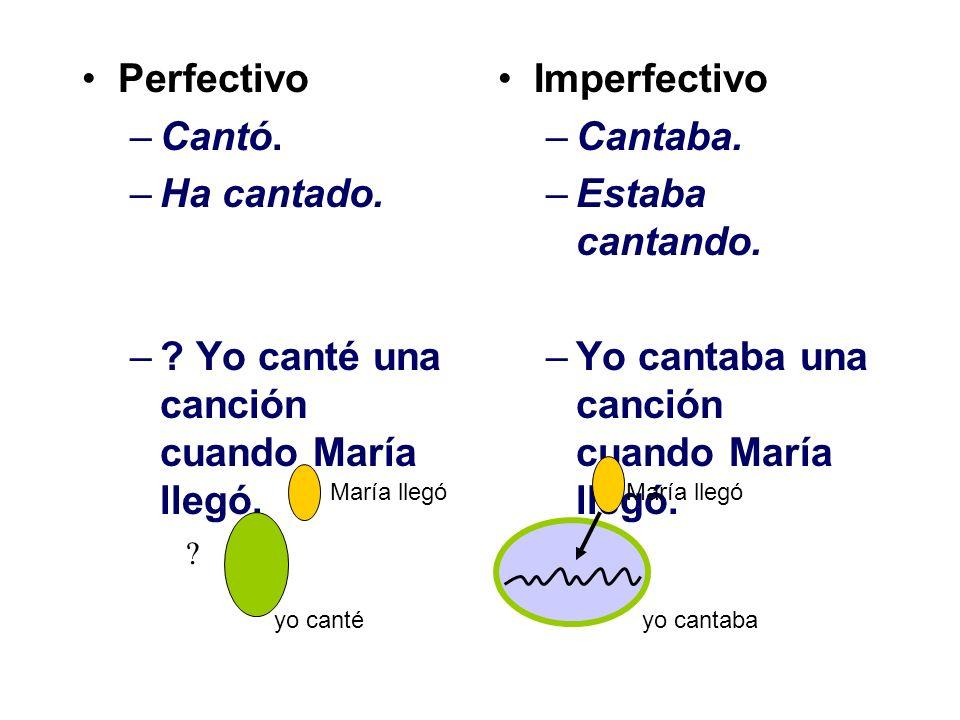 Perfectivo –Cantó.–Ha cantado. –. Yo canté una canción cuando María llegó.