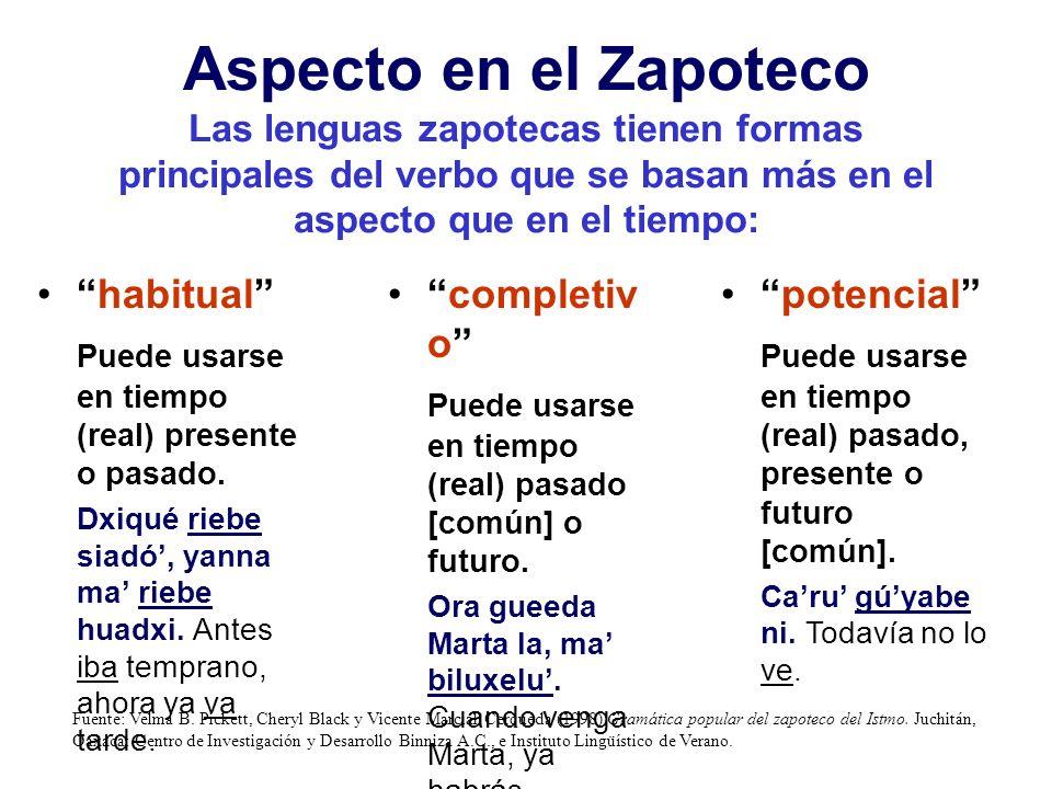 Aspecto en el Zapoteco Las lenguas zapotecas tienen formas principales del verbo que se basan más en el aspecto que en el tiempo: habitual Puede usarse en tiempo (real) presente o pasado.