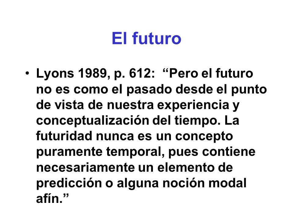 los tiempos complejos (en lenguas que los tienen) Pasado Presente Futuro había visto acto del habla evento en el pasado pasado secundario
