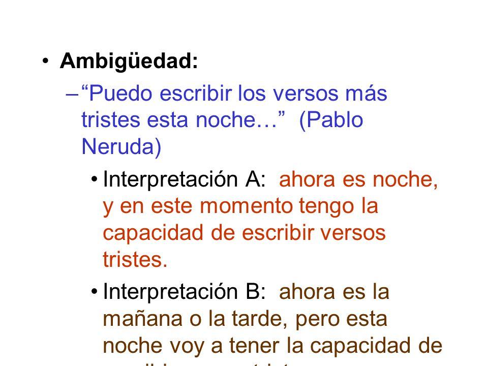 Ambigüedad: –Puedo escribir los versos más tristes esta noche… (Pablo Neruda) Interpretación A: ahora es noche, y en este momento tengo la capacidad de escribir versos tristes.