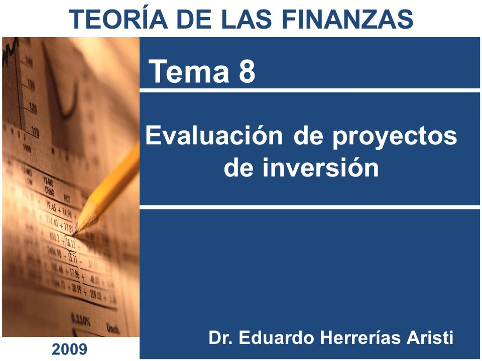 Evaluación de proyectos de inversión Tema 8 Dr. Eduardo Herrerías Aristi TEORÍA DE LAS FINANZAS 2009