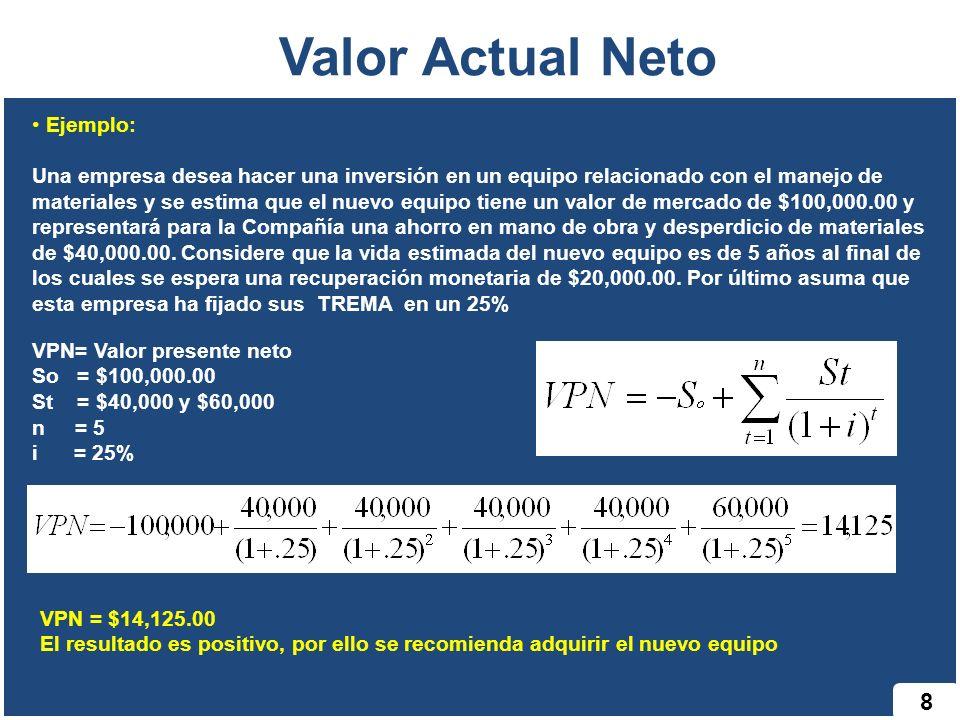 8 Valor Actual Neto Ejemplo: Una empresa desea hacer una inversión en un equipo relacionado con el manejo de materiales y se estima que el nuevo equip