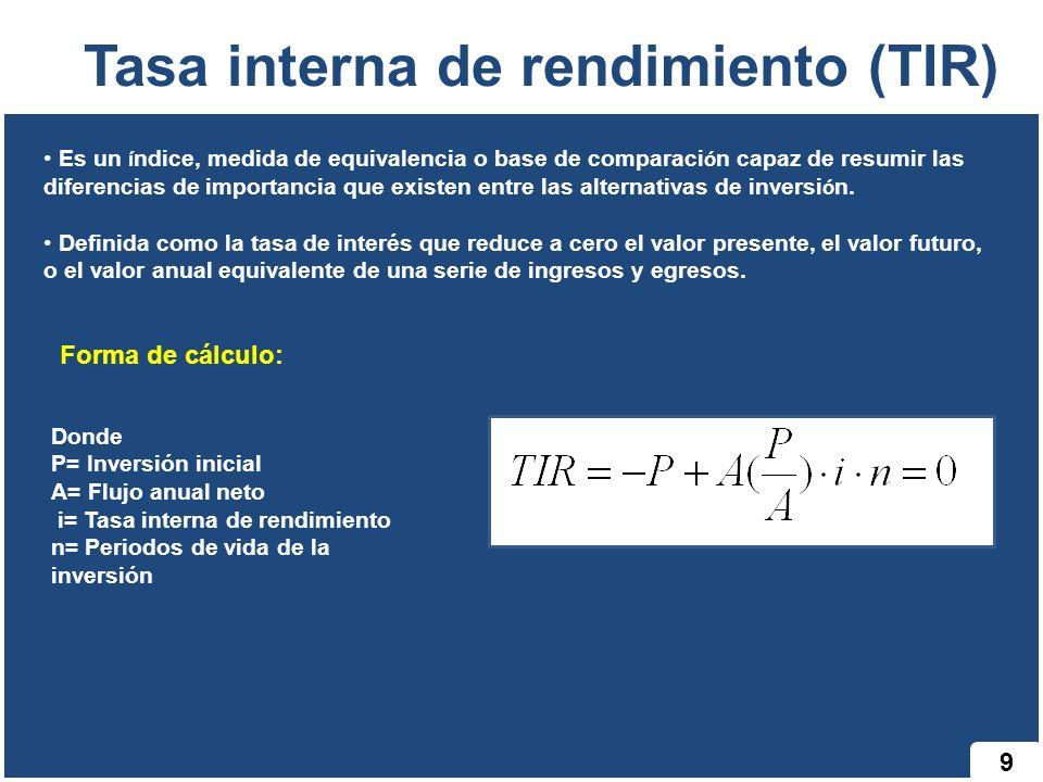 9 Tasa interna de rendimiento (TIR) Es un í ndice, medida de equivalencia o base de comparaci ó n capaz de resumir las diferencias de importancia que existen entre las alternativas de inversi ó n.