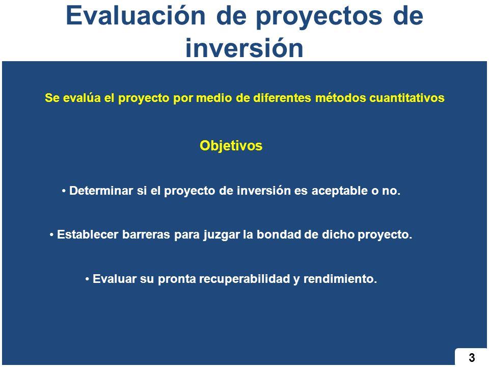 3 Evaluación de proyectos de inversión Se evalúa el proyecto por medio de diferentes métodos cuantitativos Objetivos Determinar si el proyecto de inversión es aceptable o no.