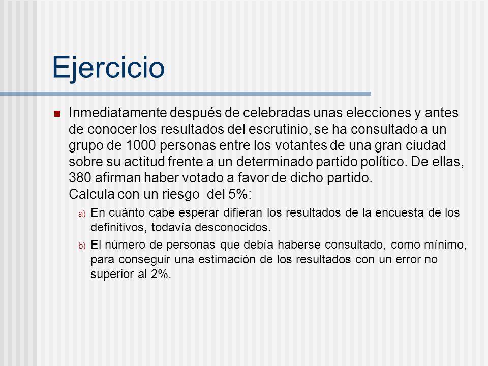 Ejercicio Inmediatamente después de celebradas unas elecciones y antes de conocer los resultados del escrutinio, se ha consultado a un grupo de 1000 p