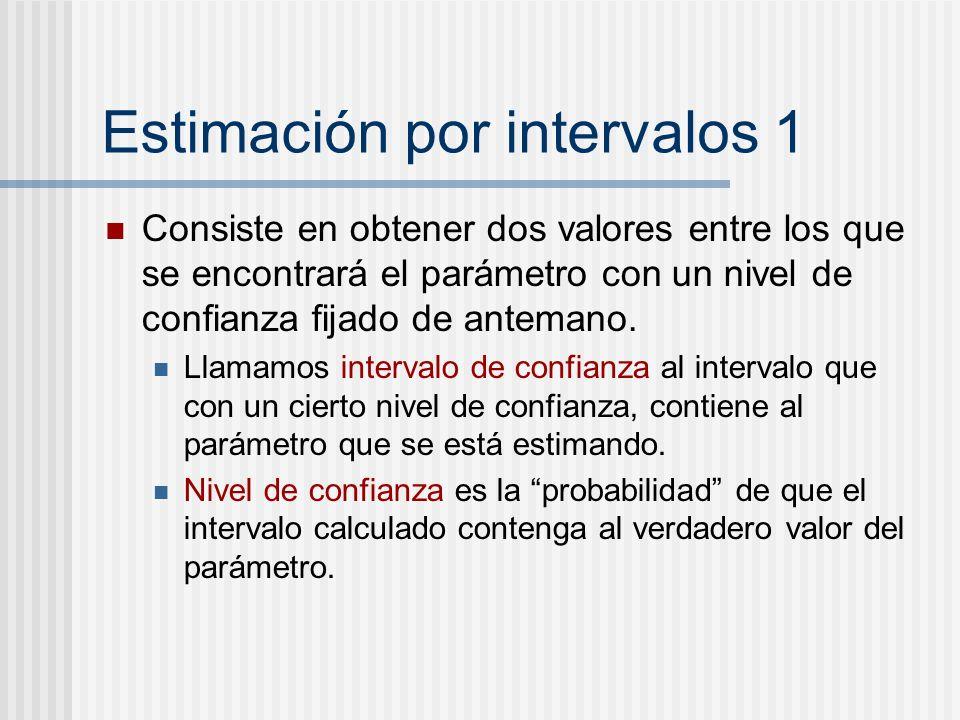 Estimación por intervalos 1 Consiste en obtener dos valores entre los que se encontrará el parámetro con un nivel de confianza fijado de antemano. Lla