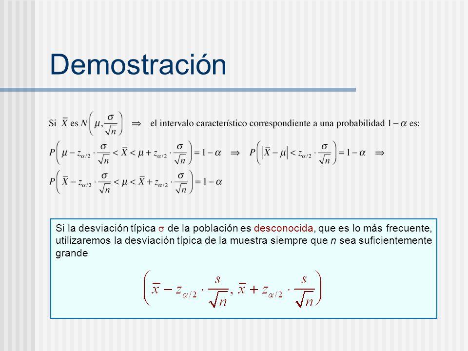 Demostración Si la desviación típica de la población es desconocida, que es lo más frecuente, utilizaremos la desviación típica de la muestra siempre