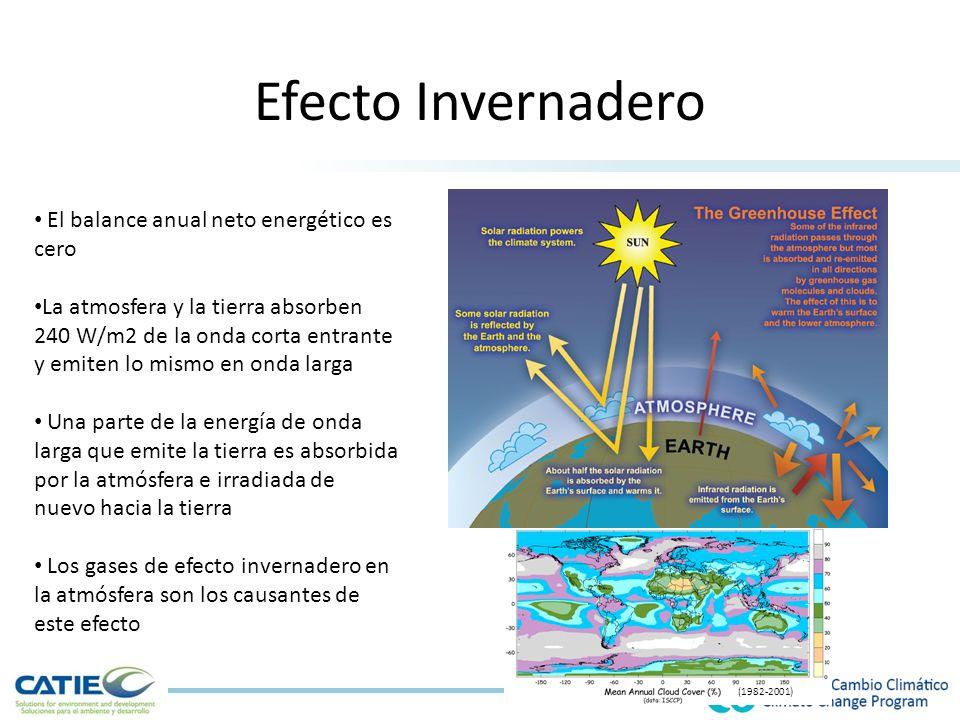 Efecto Invernadero El balance anual neto energético es cero La atmosfera y la tierra absorben 240 W/m2 de la onda corta entrante y emiten lo mismo en onda larga Una parte de la energía de onda larga que emite la tierra es absorbida por la atmósfera e irradiada de nuevo hacia la tierra Los gases de efecto invernadero en la atmósfera son los causantes de este efecto (1982-2001)