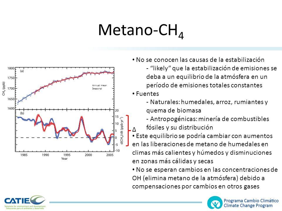 Metano-CH 4 No se conocen las causas de la estabilización - likely que la estabilización de emisiones se deba a un equilibrio de la atmósfera en un período de emisiones totales constantes Fuentes - Naturales: humedales, arroz, rumiantes y quema de biomasa - Antropogénicas: minería de combustibles fósiles y su distribución Este equilibrio se podría cambiar con aumentos en las liberaciones de metano de humedales en climas más calientes y húmedos y disminuciones en zonas más cálidas y secas No se esperan cambios en las concentraciones de OH (elimina metano de la atmósfera) debido a compensaciones por cambios en otros gases Annual mean Seasonal