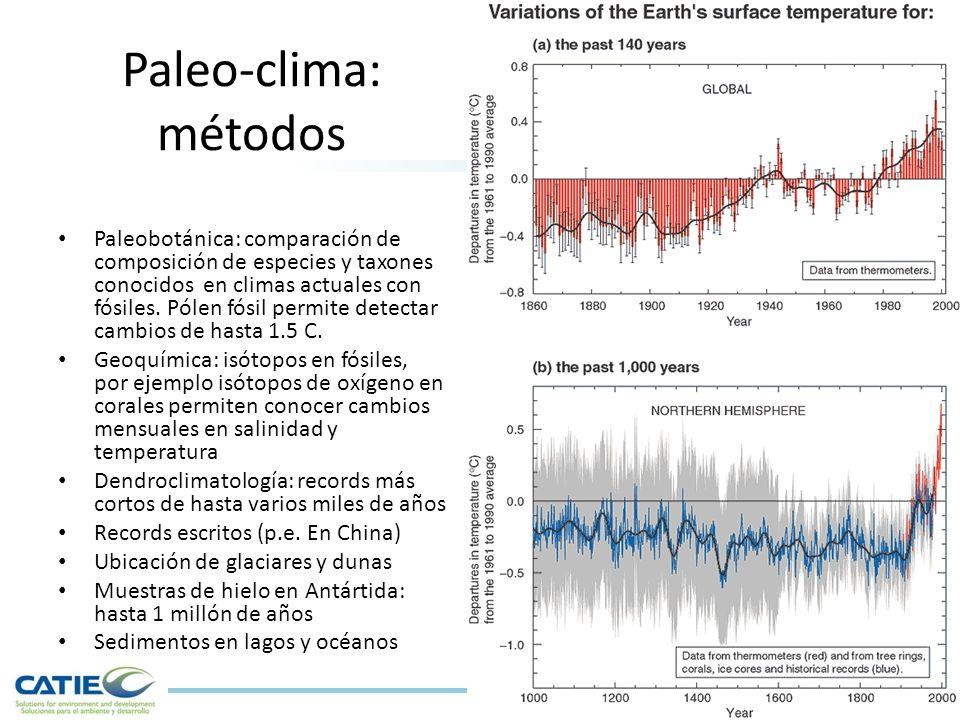Paleo-clima: métodos Paleobotánica: comparación de composición de especies y taxones conocidos en climas actuales con fósiles.