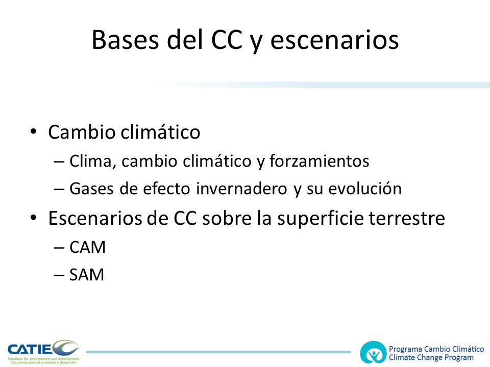 Bases del CC y escenarios Cambio climático – Clima, cambio climático y forzamientos – Gases de efecto invernadero y su evolución Escenarios de CC sobre la superficie terrestre – CAM – SAM