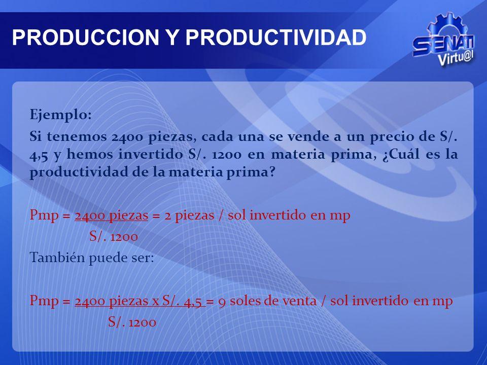 Mencionaremos tres tipos de productividad parcial: 1. Productividad parcial de la materia prima (Pmp) Pmp = Producción o valor de la producción Consum