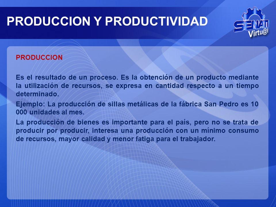 PRODUCCION Y PRODUCTIVIDAD PRODUCCION Es el resultado de un proceso.