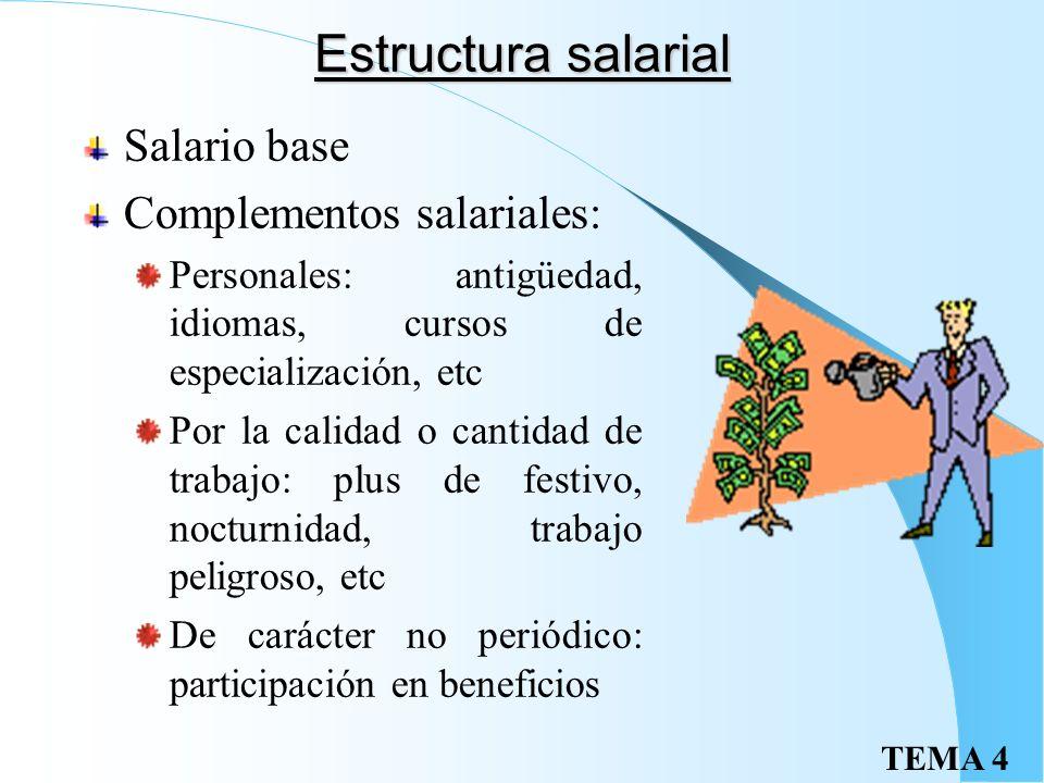 TEMA 4 El salario Totalidad de las percepciones económicas de los trabajadores, en dinero o en especie (en porcentaje no superior al 30%), que retribu