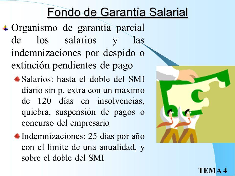 TEMA 4 Estructura salarial Salario base Complementos salariales: Personales: antigüedad, idiomas, cursos de especialización, etc Por la calidad o cant