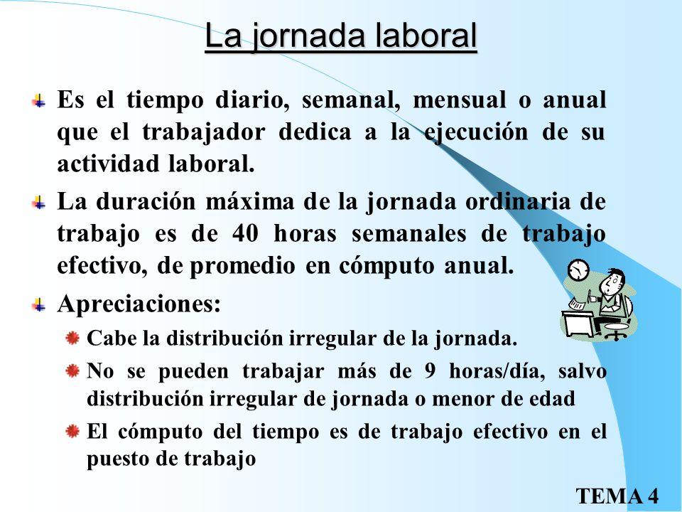 La jornada laboral Es el tiempo diario, semanal, mensual o anual que el trabajador dedica a la ejecución de su actividad laboral.