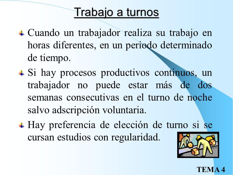 TEMA 4 Trabajo a turnos Cuando un trabajador realiza su trabajo en horas diferentes, en un periodo determinado de tiempo.