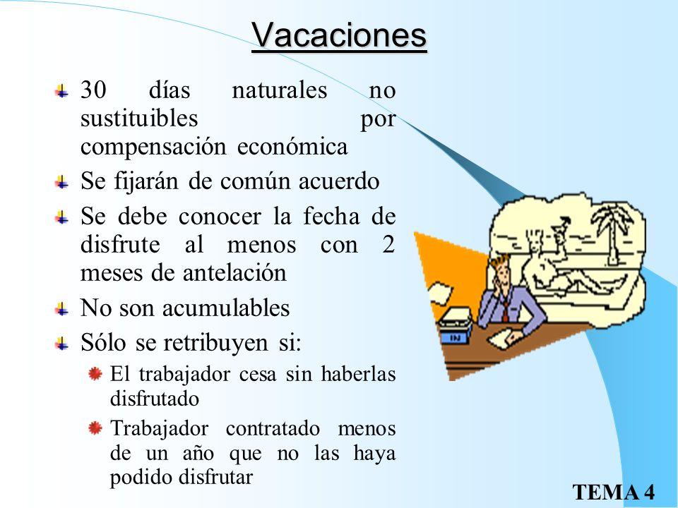 TEMA 4 Permisos retribuidos Previo aviso y justificación posterior, con derecho a retribución: Matrimonio: 15 días Nacimiento de hijo, enfermedad grav