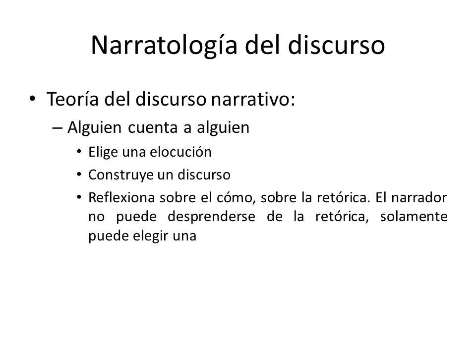 Narratología del discurso Teoría del discurso narrativo: – Alguien cuenta a alguien Elige una elocución Construye un discurso Reflexiona sobre el cómo